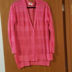 Juniors hot pink crocheted cardigan
